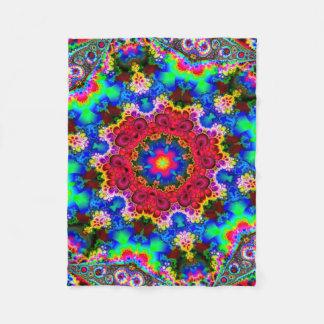 Psychedelic Cosmic Flower Fractal Fleece Blanket