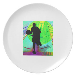 Psychedelic Court Basketball Melamine Plate