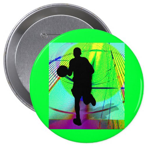 Psychedelic Court Basketball Pinback Buttons