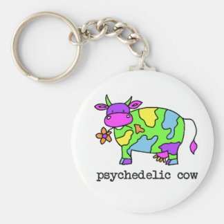 psychedelic cow basic round button keychain