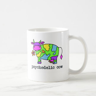 psychedelic cow classic white coffee mug