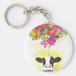Psychedelic Cow Keychain