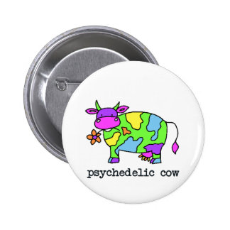 psychedelic cow pinback button