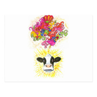 Psychedelic Cow Postcard