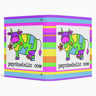 Psychedelic Cow Stripes 3 Ring Binder