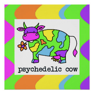 Psychedelic Cow Stripes Print