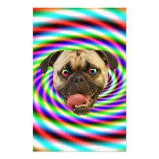 Psychedelic Crazy Pug Dog Stationery