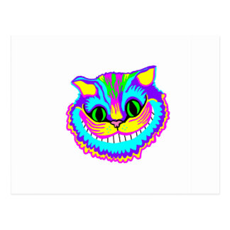 Psychedelic Crazy Smiling Cat Postcard