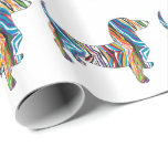 Psychedelic Dachshund Gift Wrap Paper