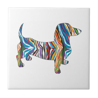 Psychedelic Dachshund Tile