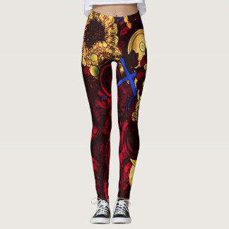 psychedelic daisy womens leggings