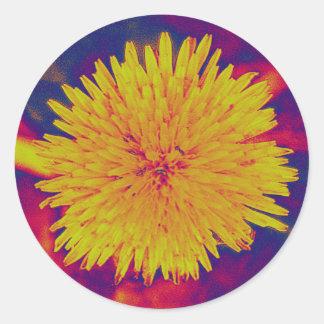 Psychedelic dandelion classic round sticker