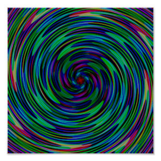 Psychedelic Dark Swirls Poster
