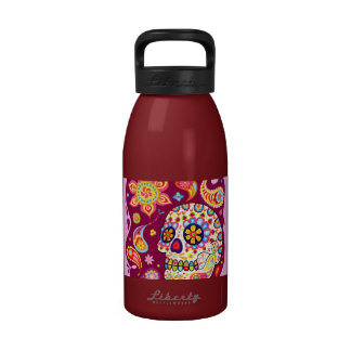 Psychedelic Day of the Dead Skull Water Bottle Reusable Water Bottles