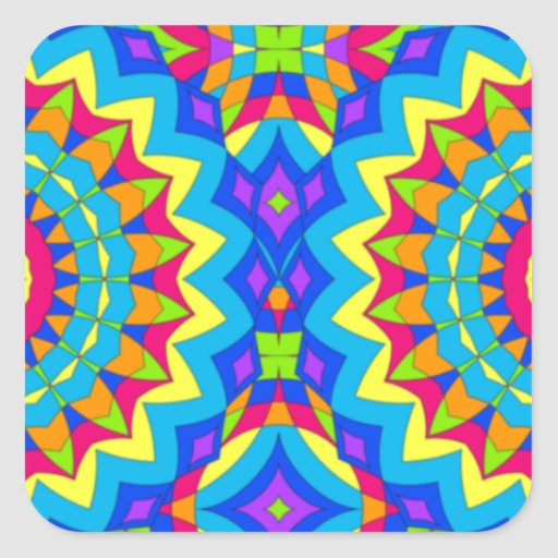 Psychedelic Design - Very Colorful Square Sticker