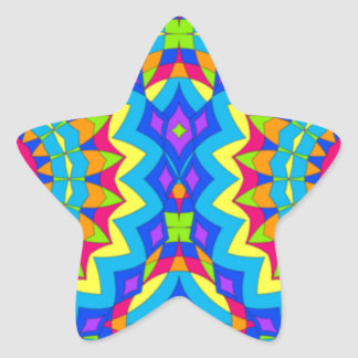 Psychedelic Design - Very Colorful Star Sticker