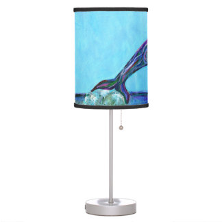Psychedelic Dolphin Leaping Folk Art Painting Table Lamp