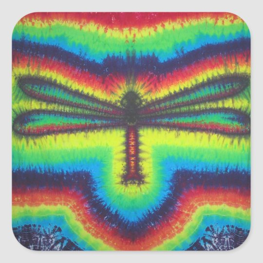 Psychedelic Dragonfly Square Sticker