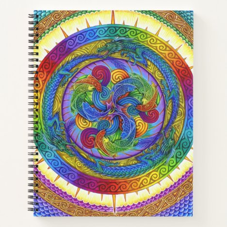Psychedelic Dragons Mandala spiral notebook