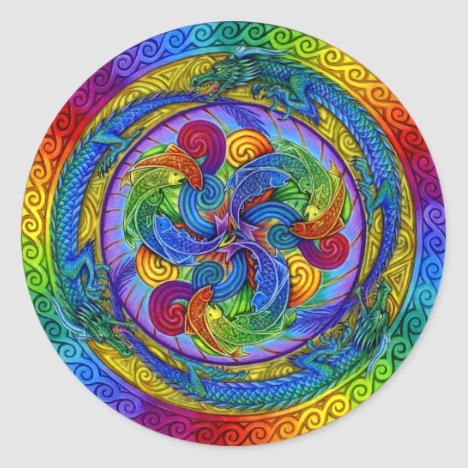 Psychedelic Dragons Rainbow Mandala Sticker