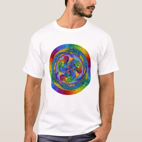 Psychedelic Dragons Rainbow Mandala T-Shirt