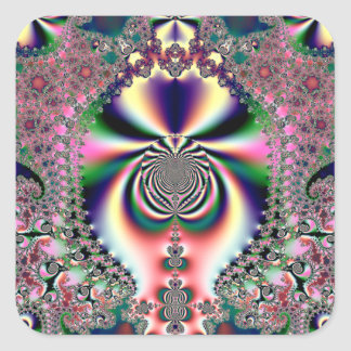 Psychedelic Dreams Fractal Square Sticker