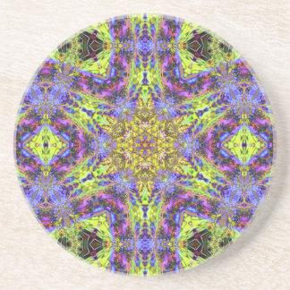 Psychedelic Dude Hexagram V 1  Sandstone Coaster