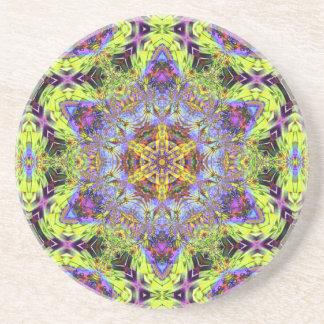 Psychedelic Dude Hexagram V 2  Sandstone Coaster