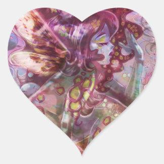 Psychedelic Earth Faerie Heart Sticker