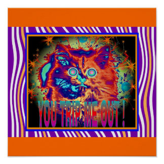 Psychedelic Electric Cat Poster