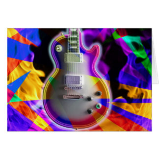 Psychedelic Electric Guitar and Flames Card