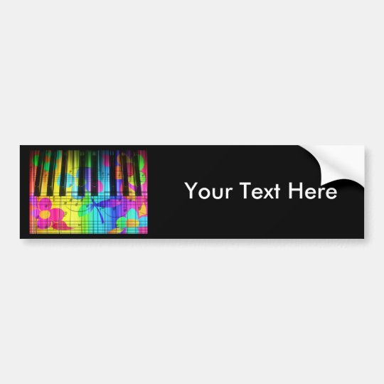 Psychedelic Electric Piano Keyboard and Flowers Bumper Sticker