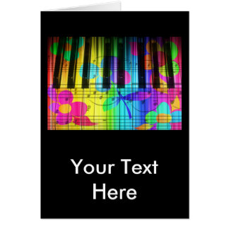 Psychedelic Electric Piano Keyboard and Flowers Card