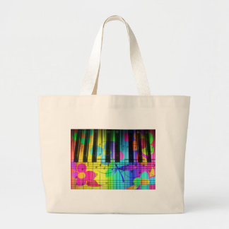 Psychedelic Electric Piano Keyboard and Flowers Large Tote Bag