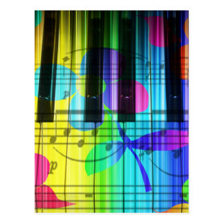 Psychedelic Electric Piano Keyboard and Flowers Post Card