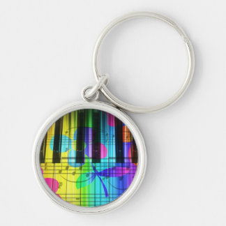 Psychedelic Electric Piano Keyboard and Flowers Silver-Colored Round Keychain