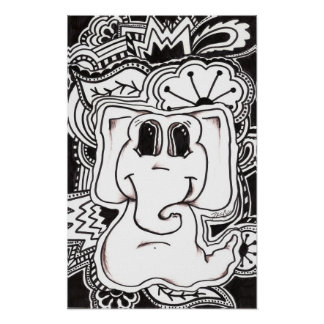 Psychedelic Elephant Poster