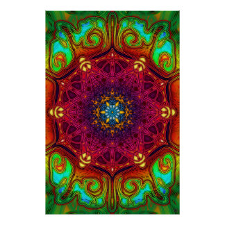 Psychedelic Excursions Mandala Art Poster