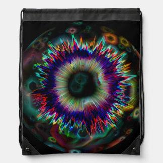 Psychedelic Explosion Fractal Drawstring Backpack