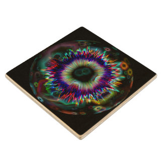 Psychedelic Explosion Fractal Wood Coaster