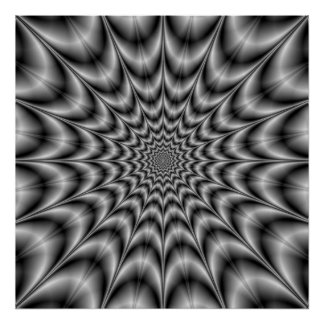 Psychedelic Explosion In Black and White Poster