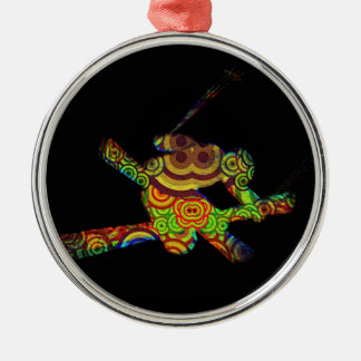 Psychedelic Extreme Ski Metal Ornament