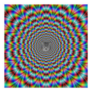 Psychedelic Eye Bender with Cat Poster
