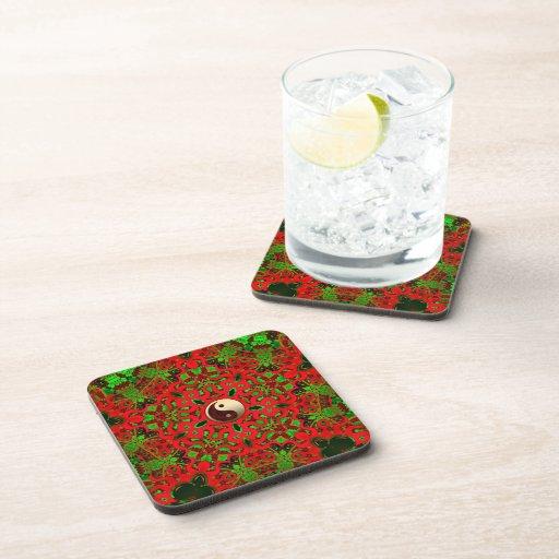 Psychedelic Festive Yin Yang  Art : Set of Six Beverage Coaster