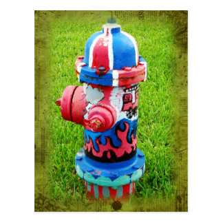 Psychedelic fire hydrant postcard