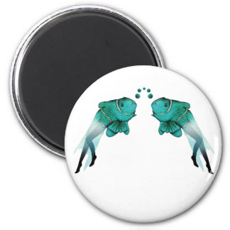 Psychedelic Fish Blue 2 Inch Round Magnet