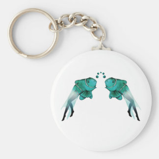 Psychedelic Fish Blue Basic Round Button Keychain