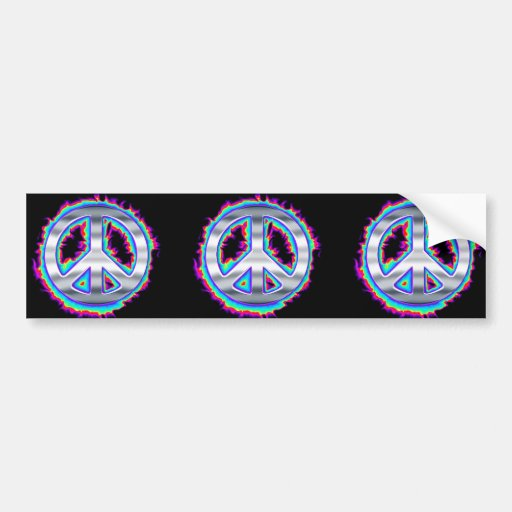Psychedelic Flaming Peace Sign Car Bumper Sticker