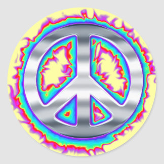 Psychedelic Flaming Peace Sign Classic Round Sticker