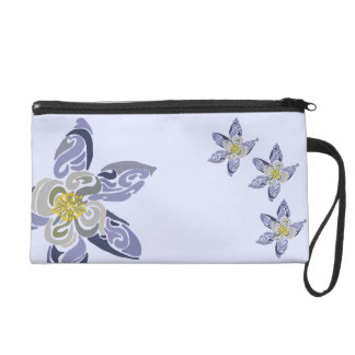 ~Psychedelic Flash~ Blue and Flowery Wristlet